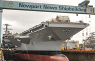 HII Readies John F. Kennedy Carrier Drydock for Christening