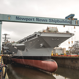 HII Readies John F. Kennedy Carrier Drydock for Christening - top government contractors - best government contracting event