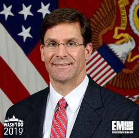 Mark Esper, Secretary of the U.S. Army, Inducted Into 2019 Wash100 for Modernizing Tech and Prioritizing Specific Projects for the U.S. Army - top government contractors - best government contracting event