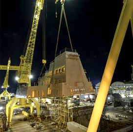 HII Elevates Aft Deckhouse Onto USS Jack H. Lucas - top government contractors - best government contracting event