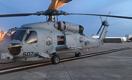 MH-60R helicopter with CAE MAD-XR sensor