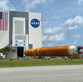 NASA's Kennedy Space Center Takes in Boeing-Built SLS Rocket Core Stage