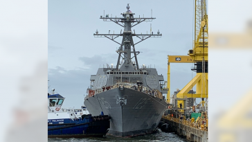 Huntington Ingalls Launches Navy's First Flight III Destroyer Jack H. Lucas - top government contractors - best government contracting event