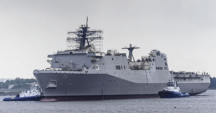 HII Christens Fort Lauderdale San Antonio-Class Amphibious Transport Dock Ship - top government contractors - best government contracting event